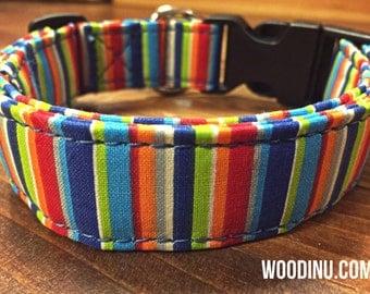Dog Collar - Adjustable Dog Collar - Summer Daze Collar - Colorful Dog Collar - Washable Dog Collar - Cotton Dog Collar - Five Sizes