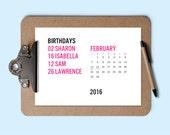 Printable Calendar - Birthday Calendar - Download & Print 2016 Calendar - Perpetual Calendar - Editable Calendar PDF - Calendar Template PDF