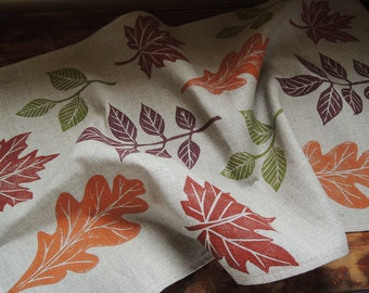 Autumn leaves hand block printed home decor kitchen natural gray linen tea towel