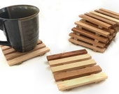 4 Hickory wood drink coasters - reclaimed hickory wood - generously sized coasters for coffee or wine or summer ice tea