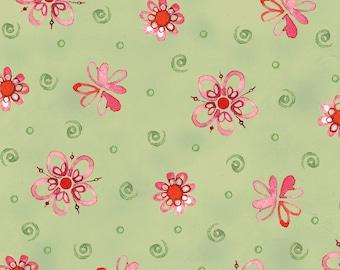 Robin Rawlings - Ariel -Tossed Flowers in Moss Green - Half Yard Cotton Fabric