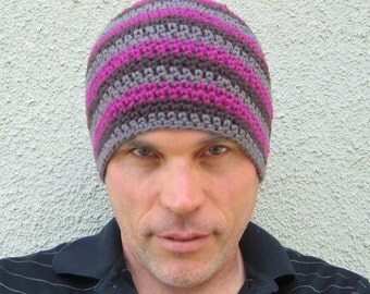 men's cotton beanie/ deep magenta stripe crochet