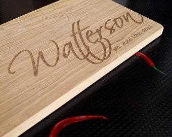 Custom engraved cutting board, personalized oak wood cutting board, wooden cheese bread board, serving board, wedding, anniversary gift