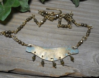 Vintage style brass patina staement necklace, one of a kind, solid brass necklace with brass beads,handmadebrassjewelry