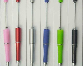 6 Plastic Beadable Pens