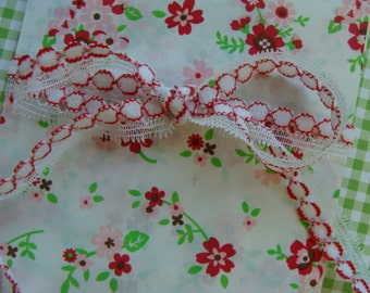 Sweetest Vintage Kitsch Red and White Peppermint  Doll Lace 2 Yards