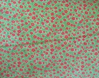 Green Orange Yellow Floral Small Print Fabric - Studio e - Girly Girl