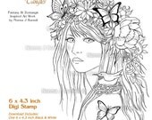 Promise of Spring Fairy Tangles Digi Stamp Fairy flowers and butterflies Digital Stamp Designs by Norma J Burnell for card making stamping