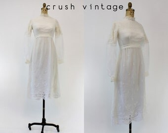 1970s Crochet Dress XS / 70s Lace Wedding Dress / Bohemian Rhapsody Gown