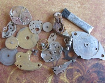 Vintage WATCH PARTS gears - Steampunk parts - r8 Listing is for all the watch parts seen in photos