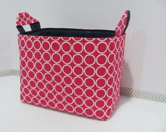 LARGE Fabric Organizer Basket - Storage Container Bin - Bucket Bag - Toy Bin - Diaper Holder - Home Decor- Size Large - Pink Circle Dots