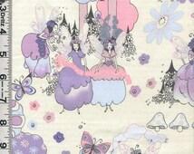 Fabric Henry Sprites of Tillbrook retro 60s fairies purple and pink mushrooms butterflies oop rare