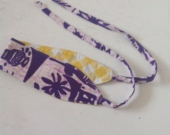 Reversible Headband/Vintage Hawaiian Barkcloth