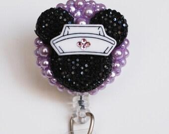 Nurse Minnie Mouse Black Silhouette With Purple Pearls ID Badge Reel - Retractable ID Badge Holder