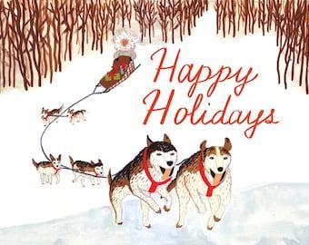 Dog Sled Happy Holidays Card Set