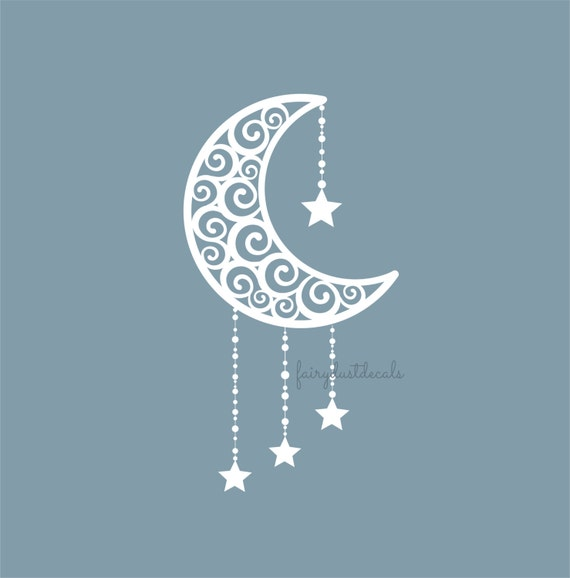 Items similar to moon decal crescent moon vinyl wall for Amazing look with moon and stars wall decals