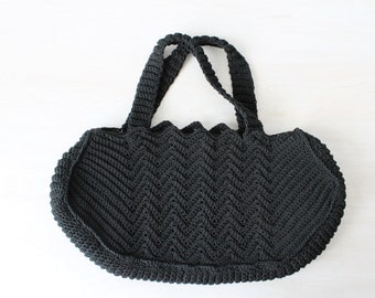 Vintage 1940s Corde Clutch / Black Corde Bag / Corde Clutch  / Noir