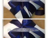 Romantic Satin Ring Bearer Pillow Set of 2...You Choose the Colors..shown in white/navy blue