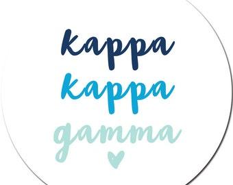 Set of Custom Sorority Stickers / Bid Day / Kappa Kappa Gamma Heart