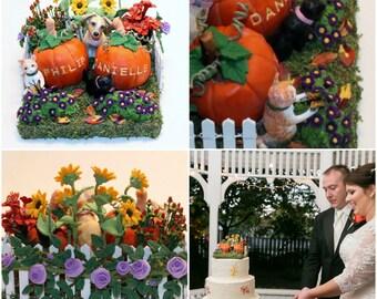 Custom Made Pumpkin Wedding Cake Topper Keepsake