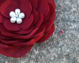 Bordo Burgundy Red Flower Brooch or Hair Clip