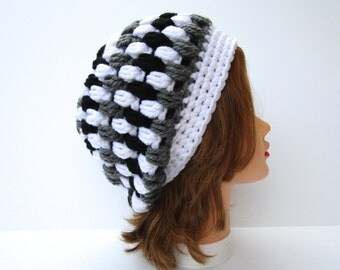 White Gray Black Hat - Slouchy Beanie - Women's Hat - Puff Stitch Hat - Crochet Beanie - Chunky Headwear - Crochet Accessories
