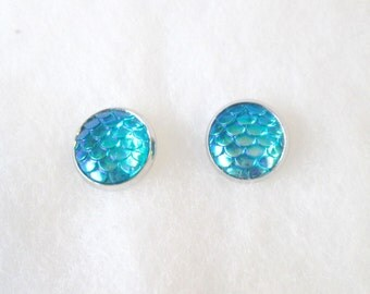 Blue Iridescent Mermaid Scale Earrings