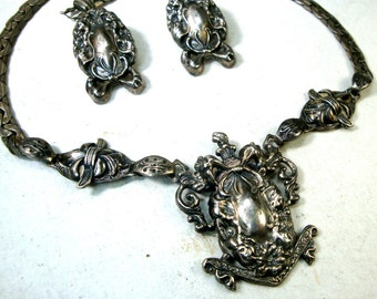 Sterling Silver LOOK Victorian Revival Choker Necklace n Clip Earrings,  C. 1940s Vintage Ornate Romantique Design,  Elegant Early Classic