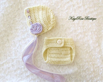 Newborn to 3 Month Old Baby Girl Crochet Flower Bonnet Hat and Diaper Cover Set Cream and Lavender