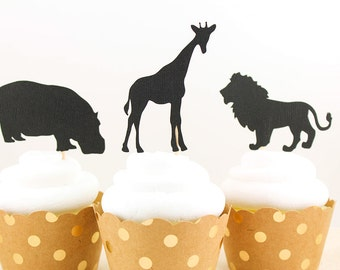 Safari Animals Silhouette Cupcake Toppers - Set of 12