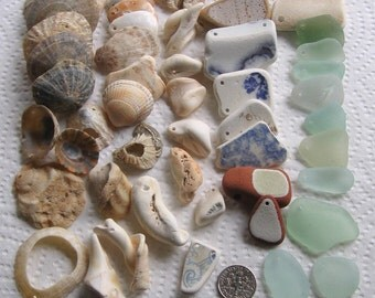 49 Medium to Large Sea Glass Beach Pottery Shells Drilled 1.5 to 3mm holes Supplies (1657)