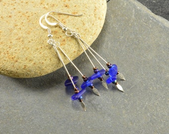 I only got the blues.... triple dangle naturally ocean tumbled Maine cobalt blue sea / beach glass and sterling silver dangle earrings