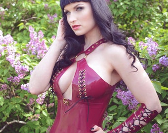 Latex Rubber 'Kyra' dress in Plum