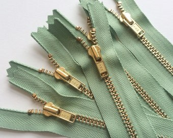 YKK Brass Metal Zippers- 7 Inch- Misty Meadow Green (5) Pieces- Color 063