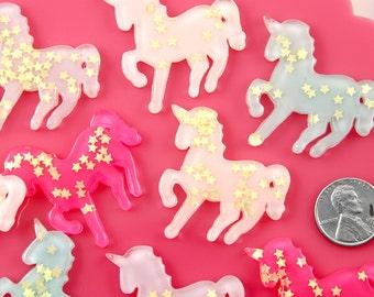 Decoden Cabochons - 37mm Big Pastel Glitter Unicorn Star Dust Confetti Pony Acrylic or Resin Flatback Cabochons - 5 pc set