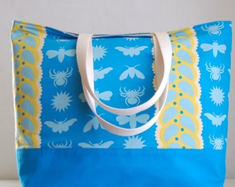 Insects on Blue XL Extra Large Beach Bag / BIG Tote Bag - Ready to Ship