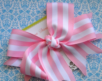 Preppy Stripes in Pink and White XL  Diva Bow