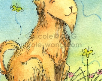 Original ACEO Painting -- Happy mutt