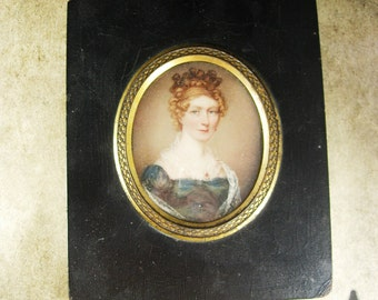 Known artist SIGNED 1822  PORTRAIT miniature Framed woman Royalty victorian woman Albin Roberts Burt