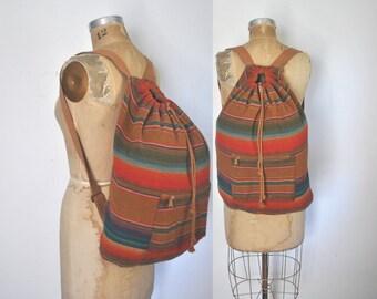 Navajo Wool Backpack Bookbag / ethnic blanket bag / unisex