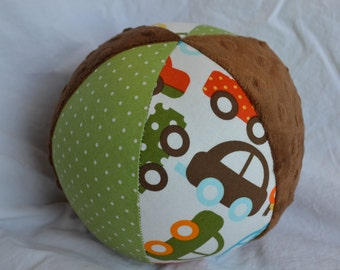 "LARGE 7"" Car Jingle Ball Cloth Baby Toy with Ann Kelle's Ready, Set, Go fabric"