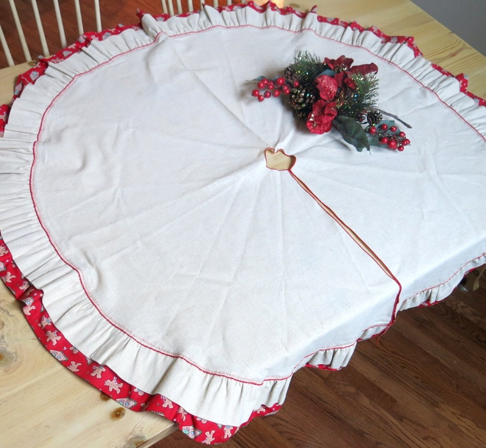 Large round christmas tree skirt muslin deep red ruffle