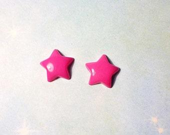 SALE - Mini Colorful Puffy Star Stud Earrings