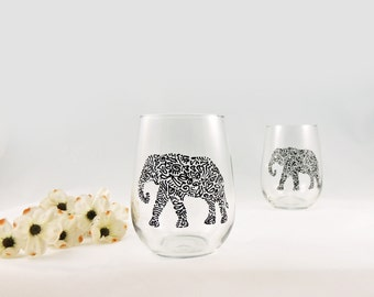 Elephant glasses - Hand painted stemless white wine glasses - Set of 2 - Safari Collection