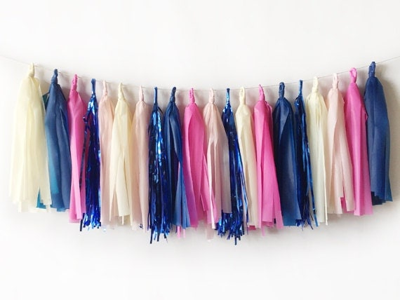 Pink and Navy Tassel Garland