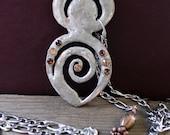 Goddess pendant, handmade silver metal goddess pendant