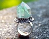 Green Apophyllite Crystal Ring