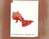 The Neighborhoods of Cambridge in Reds: Boxed Notes / Tote Bag / Notebook / Art Print