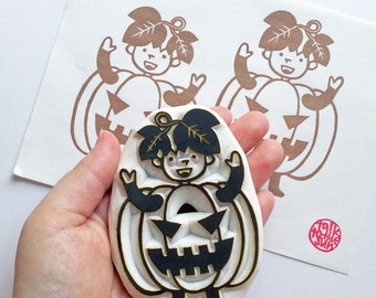 jack o lantern rubber stamp | halloween pumpkin boy ghost stamp | diy halloween card making | | gift wrapping | hand carved by talktothesun