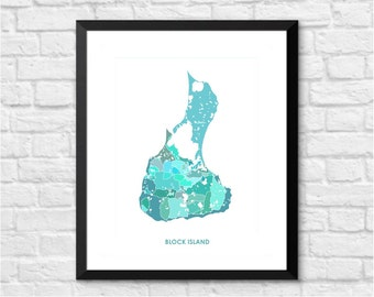 Block Island Art Map Print.  Color Options and Size Options Available.  Map of Block Island.